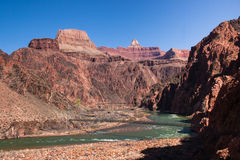 Bridges over Colorado River at the bottom of Grand Canyon. Bright Angel trail and South Kaibab trail Stock Photos