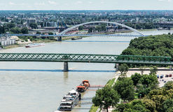 Bridges over the Danube river in Bratislava city, Slovakia Royalty Free Stock Photo