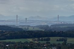 The bridges over the Firth of Forth near Edinburgh, Scotland stock images