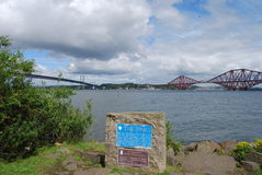 Bridges Over Forth. A view from south Queensferry of the famous Forth bridges Royalty Free Stock Images