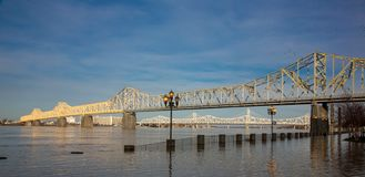 Ohio River Bridges. Bridges over the Ohio River in Cleveland Kentucky USA stock photo