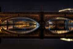 Bridges over the river at night Stock Photography