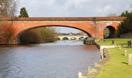 Bridges over the River Thames. The River Thames in Maidenhead Berkshire, with Brunels Sounding Arch Railway Bridge in the foreground royalty free stock photos