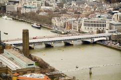 Bridges over the River Thames. Three bridges crossing the River Thames in central London.  Blackfriars road bridge, Blackfriars Railway Bridge and the Millennium Royalty Free Stock Photos