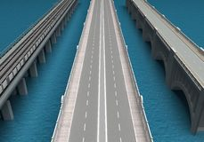 Bridges over the sea . 3d rendering. Bridges over the sea in the perspective. 3d rendering vector illustration