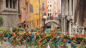 Bridges Over Side Canal, Venice Stock Image