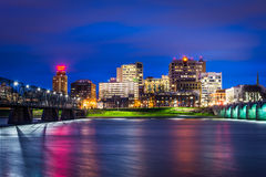 Bridges over the Susquehanna River and the skyline at night, in Royalty Free Stock Images