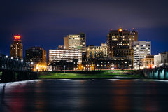 Bridges over the Susquehanna River and the skyline at night, in Royalty Free Stock Photo
