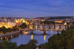 Bridges over the Vltava River, Prague at night Stock Photos