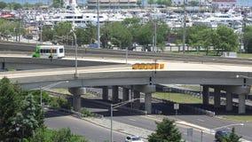 Bridges, Overpasses, Structures, Transportation. A bridge or overpass, traffic stock video