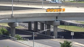 Bridges, Overpasses, Structures, Transportation. A bridge or overpass, traffic stock footage