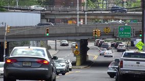 Bridges, Overpasses, Structures, Transportation. A bridge or overpass in an urban environment stock video