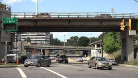 Bridges, Overpasses, Structures, Transportation. A bridge or overpass in an urban environment stock footage