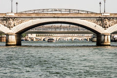 Bridges of Paris, view from the Seine Stock Photos