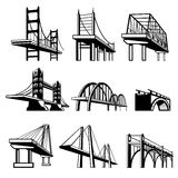 Bridges in perspective vector icons set. Architecture construction, urban road structure engineering object illustration Stock Photography