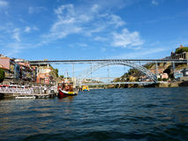 Bridges of Porto 4. Porto stands on the River Douro. Through it airlifted some wonderful beautiful openwork bridges Stock Images
