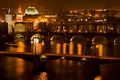 bridges prague Arkivfoto