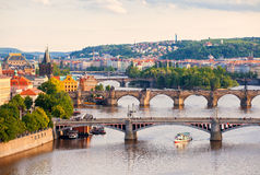 bridges prague Royaltyfria Bilder
