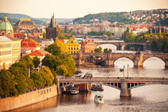 bridges prague Royaltyfri Bild