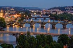 bridges prague Arkivbilder