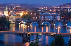 bridges prague Royaltyfri Fotografi