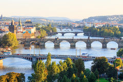 Bridges of Prague from above at sunset Royalty Free Stock Image