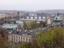 Bridges of Prague. Aerial view of Prague with the historical bridges that cross Vlatava river Royalty Free Stock Photos