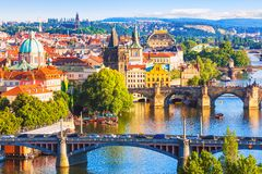 Bridges of Prague, Czech Republic. Scenic summer aerial view of the Old Town pier architecture and Charles Bridge over Vltava river in Prague, Czech Republic royalty free stock images