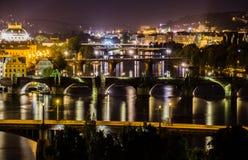 Bridges of Prague, Czech Republic. Prague Bridges - view from Letna Park Stock Photography