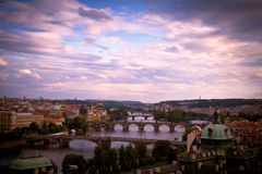 Bridges of Prague at dawn. Early morning view of The Vltava River and Bridges, Prague Stock Photos