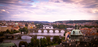 Bridges of Prague at dawn. Early morning view of The Vltava River and Bridges, Prague Stock Photography