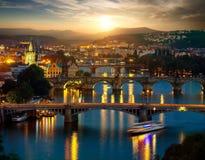 Bridges of Prague in evening stock photos