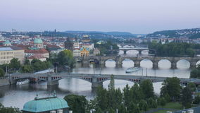 Bridges of prague illuminated at night including the famous charles bridge stock footage