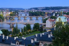 Bridges in Prague over the river Vltava at sunset Stock Photos