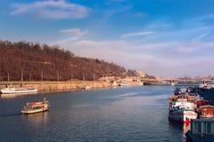 Bridges of Prague, over Vltava. Prague-Prague 1, Czechia, Vltava river Stock Photo