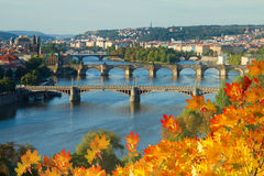 Bridges of Prague over VLtava river Royalty Free Stock Photo