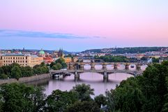 Bridges of Prague over Vltava River, Scenic View from Letna royalty free stock image