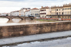 Bridges and quay in Florence city in autumn Royalty Free Stock Image