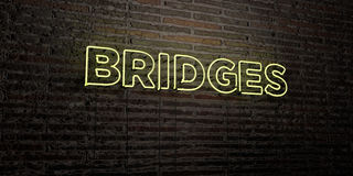 BRIDGES -Realistic Neon Sign on Brick Wall background - 3D rendered royalty free stock image. Can be used for online banner ads and direct mailers vector illustration