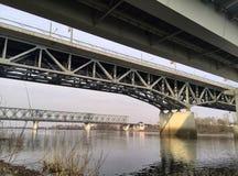 Bridges and river. Bridges cross the river, autumn Stock Photos