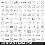 100 bridges and roads icons set, outline style Stock Photography
