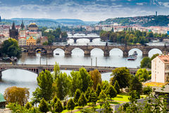 Bridges and rooftops of Prague Stock Images