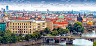 Bridges and rooftops of Prague Royalty Free Stock Photo