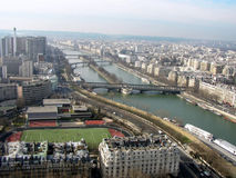 The Bridges of Seine. Areal view of Paris from the Eiffel Tower Stock Photos