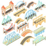 Bridges set, isometric 3d style. Isometric bridges stadium icons set. Universal bridges icons to use for web and mobile UI, set of basic bridges elements royalty free illustration