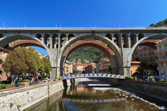 Bridges in Sori, Italy. Urban view in Sori with the road and the rail bridges over the town, Liguria, Italy Stock Photos