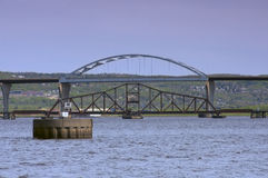 Bridges Spanning Lake Superior in Duluth Superior. Richard Bong Bridge and Grassy Point Drawbridge spanning waters of Lake Superior at Saint Louis Bay in Duluth Stock Photography
