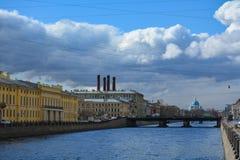 Blue sky over the Fontanka River royalty free stock photo