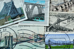 Bridges on stamps Royalty Free Stock Images