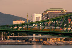 Bridges in sunrise. Budapest bridges in sunrise with the Castle district Stock Photography